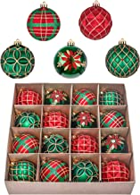 Valery Madelyn 16ct 80mm Country Road Red Green and Gold Shatterproof Christmas Ball Ornaments Decoration,Themed with Tree...