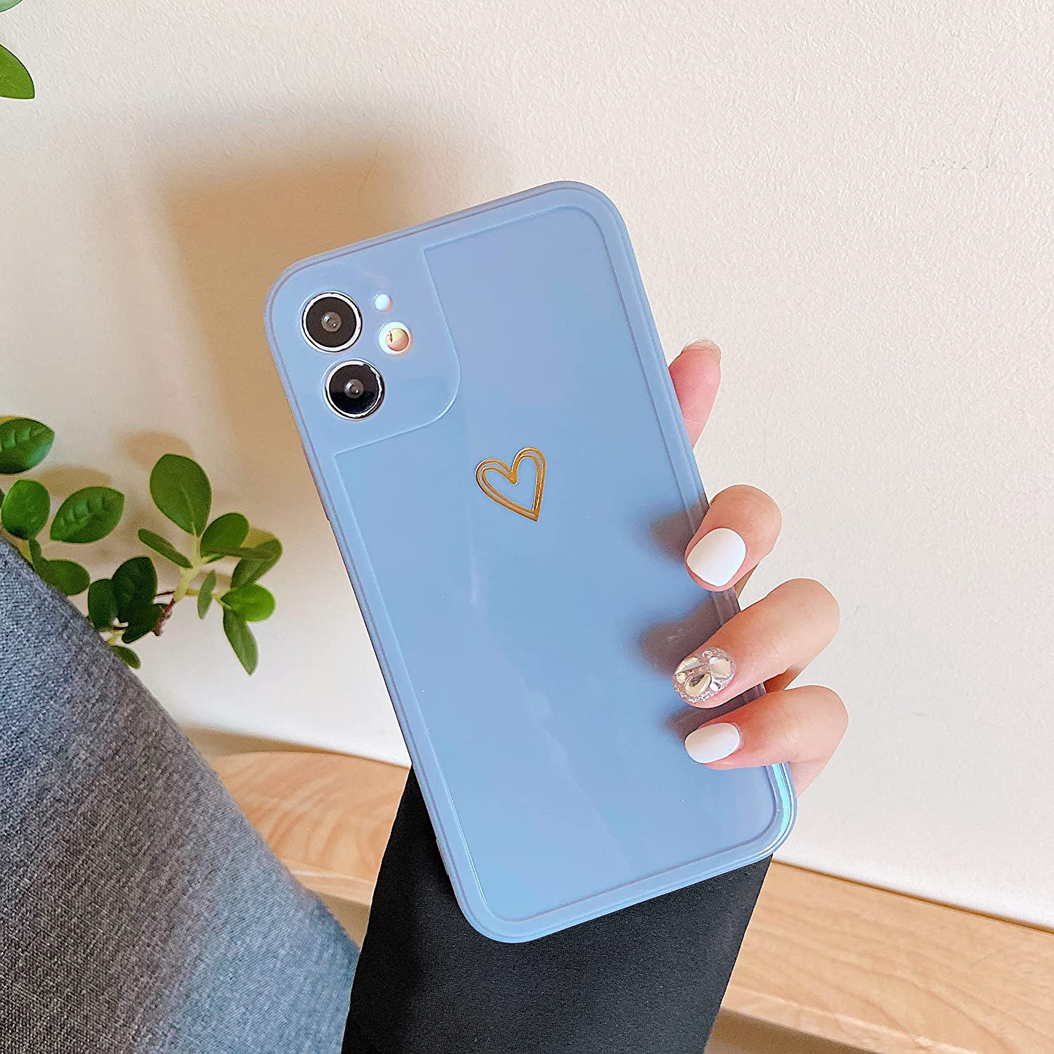 ZTOFERA Compatible with iPhone 11 Case, 6.1-Inch, Girls Cute Love Heart Pattern Shockproof Silicone Bumper Slim Soft TPU Cover Women Protective Case for iPhone 11, Blue