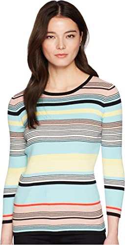 Vince Camuto Specialty Size Petite Long Sleeve Color Blocked Ribbed Sweater