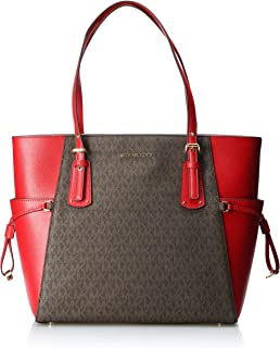 Michael Kors Womens Tote Bag, Brown/Bright Red - 30F8GV6T4B One Size
