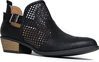 Milton Perforated Booties - Western Distressed Laser Cut Ankle Boots