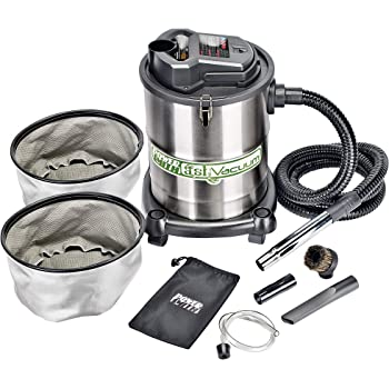 """PowerSmith PAVC102 10 Amp 4 Gallon All-In-One Ash and Shop Vacuum/Blower with 10' Hose, Wheeled Base, Crevice Tool, Brush Nozzle, Pellet Stove Hose, 16' Power Cord, 1 1/4"""" Adapter, and 2 Filters,Silver"""