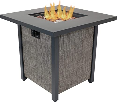 2021 Sunnydaze Kleifar Metal high quality Propane Fire Pit with Rafa Fabric Sides - Modern Smokeless Square Outdoor Fire Pit Table - Ideal for The Patio, Deck or popular Backyard - 25.25 Inches Tall outlet sale