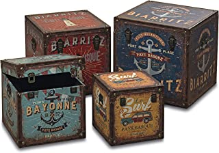WHW Whole House Worlds World Traveler Seaside Steamer Trunk Storage Boxes, Set of 4, Various Sizes, Over 4 1/2 Ft Stacked, Faux Leather, Wood, Lined, Brass Hardware