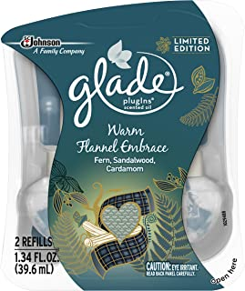 Glade Plugins Scented Oil Air Freshener Refill, Warm Flannel Embrace, 2 Refill, 1.34 Fl Oz