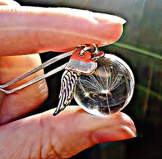 Catena in argento sterling cuore d'oro rosa collana di tarassaco ciondolo ala d'angelo - pendente dent di leone gioielli c...