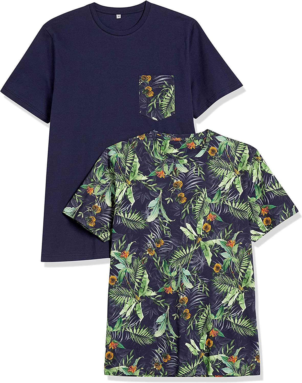 Lovert Organic Cotton T-Shirts for Men with Designs - Short Sleeve Printed Novelty T Shirt with Pocket - Pack of 2