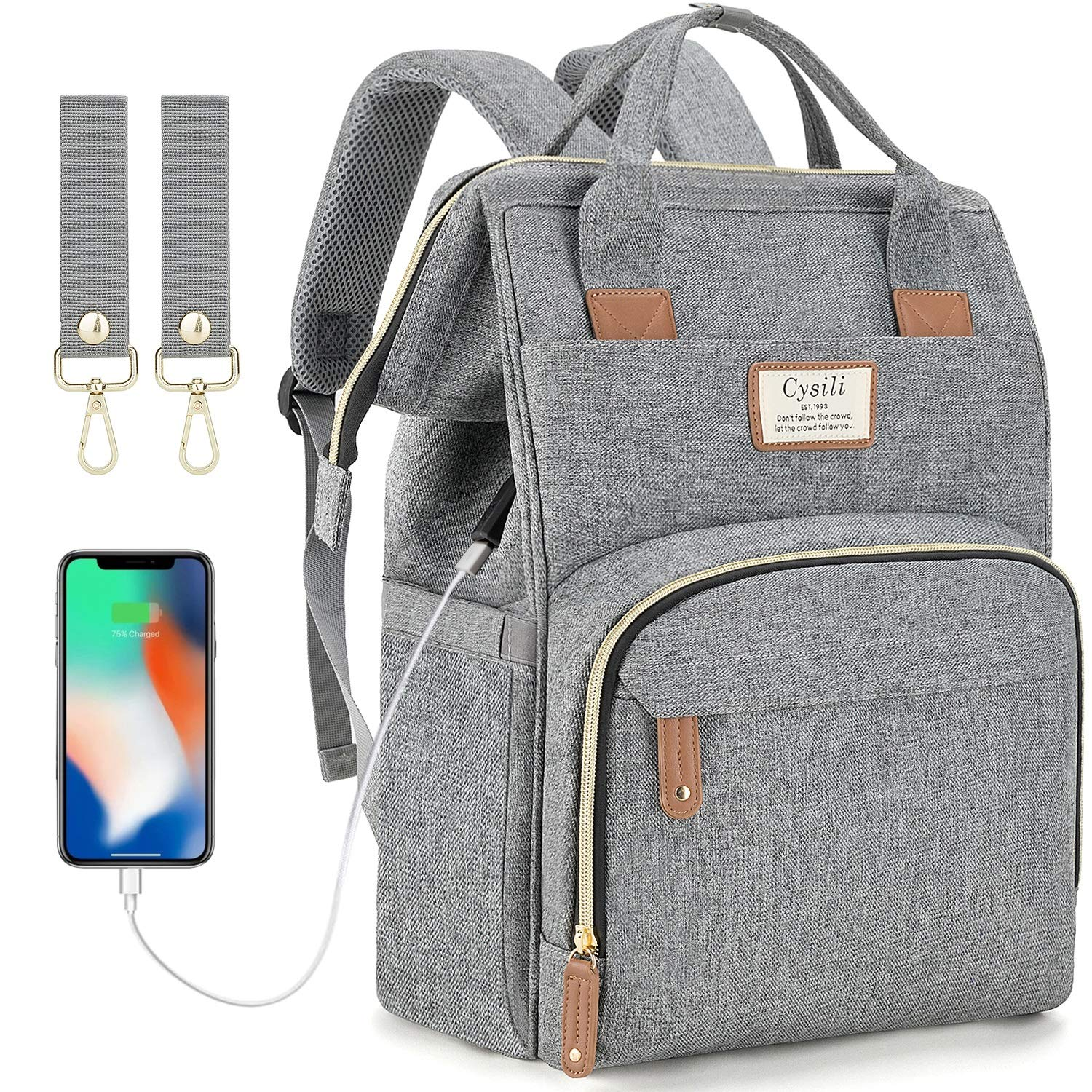 Diaper Bag Backpack with USB Charging Port and Stroller Straps, Maternity Nappy Bag with Insulated Feeding Bottle Pocket (Grey)