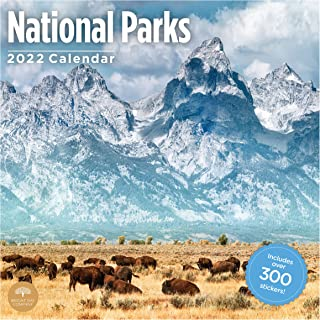 2022 National Parks Sticker Wall Calendar by Bright Day, 12 x 12 Inch,