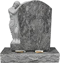 Bahama Blue Granite Upright Monument Gravemarker Headstone Gravestone Guardian Leaning on Tablet MN-09
