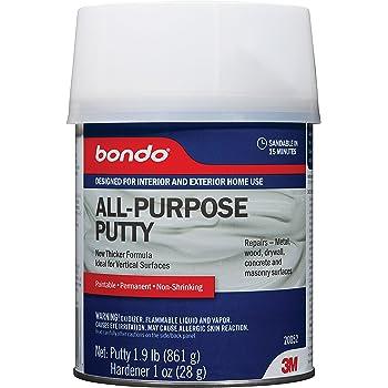 Bondo All-Purpose Putty, Designed for Interior and Exterior Home Use, Paintable, Permanent, Non-Shrinking, 1.9 lb., 1-Quart