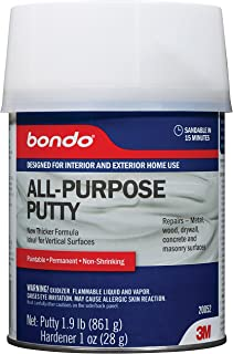 Bondo All-Purpose Putty, Designed for Interior and Exterior Home Use, Paintable, Permanent, Non-Shrinking, 1 Quart