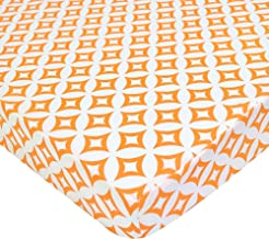 American Baby Company 100% Natural Cotton Percale Fitted Portable/Mini Crib Sheet, Orange Tweedle Dee Tile, Soft Breathable, for Boys and Girls