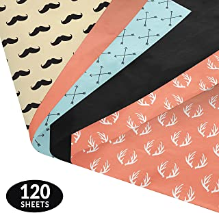 Note Card Cafe Premium Tissue Paper Set | 120 Gift Wrapping Sheets | 14 x 20 in | 5 Quality Modern Designs and Solid Colors | For Arts, Crafts, Gifts, DIY, Birthdays, Weddings, Showers, Decor, Packing