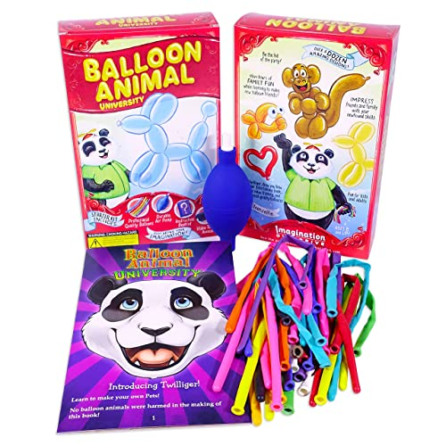 Balloon Animal University Kit Now with Even More Creations! 25 Balloons Custom Colors with Qualatex, Unbreakable Air Pump, Instruction Book and Videos. Learn to Make Balloon Animals Starter Kit