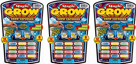 JA-RU Magic Grow Capsules (3 Packs 36 Capsules) Best Growing Animals Dinosaurs Capsules Bath Toys for Kids. and 1 Bouncy Ball. Bulk Supply. 305-3A