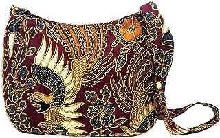 NOVICA Red Hand Beaded Cotton Batik Shoulder Bag, King's Bird'