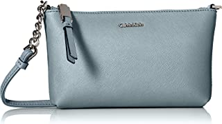 Calvin Klein Womens H7DE12CR Hayden Key Item Saffiano Top Zip Chain Crossbody