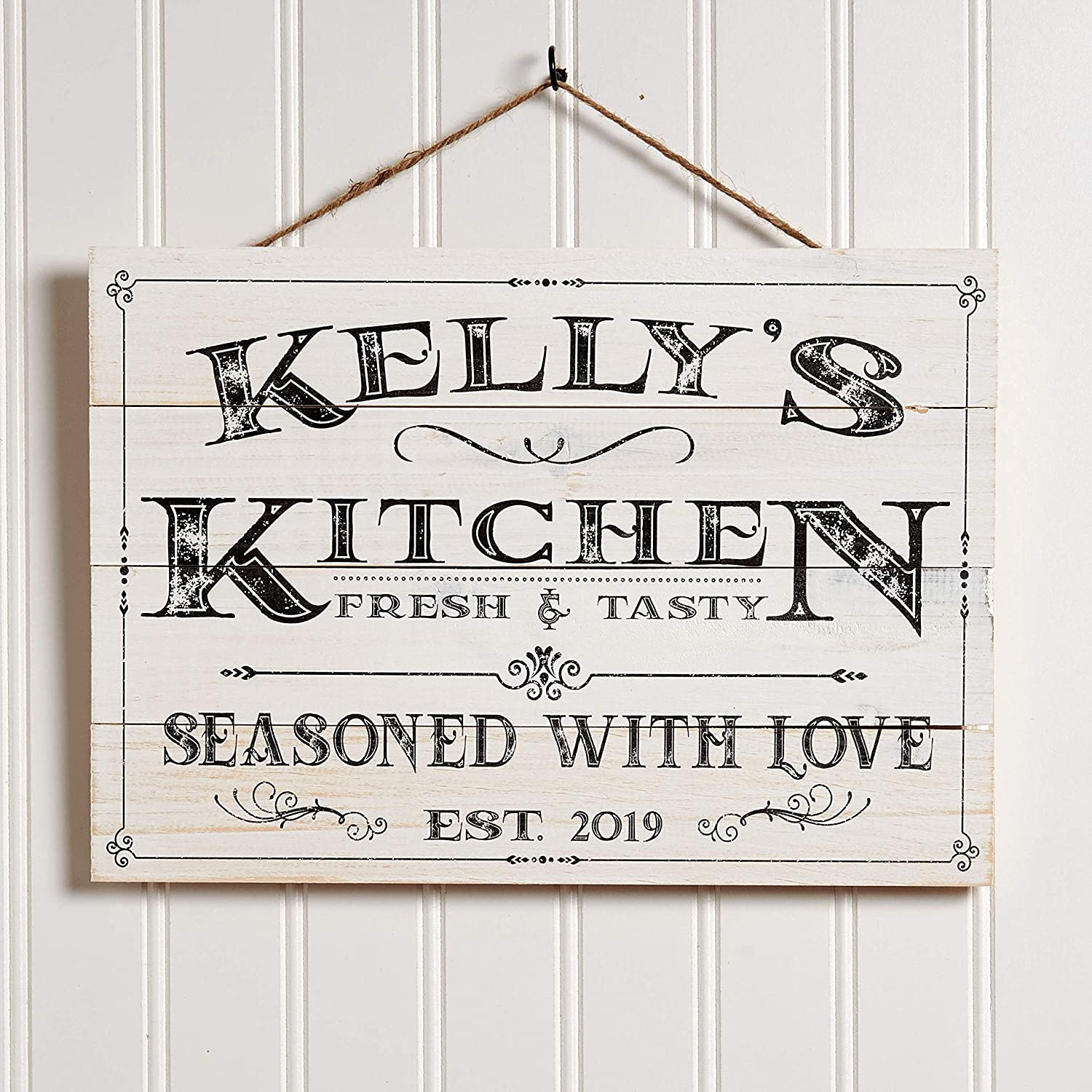 Artblox Personalized Kitchen Sign   Customized Last Name Signs For Home  Decor   Farmhouse Kitchen Wall Decor For Mothers Day Gift Housewarming  Wedding ...