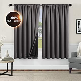 WONTEX 100% Grey Blackout Curtains for Bedroom 42 x 63 inch Length - Thermal Insulated, Noise Reducing, Sun Blocking Lined Rod Pocket Window Curtain Panels for Living Room, Set of 2 Winter Curtains