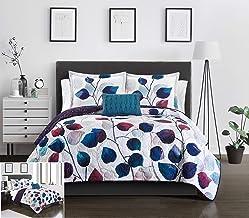 Chic Home Alecto 3 Piece Reversible Quilt Set Contemporary Watercolor Floral Theme Design Bedding - Decorative Pillow Sham...