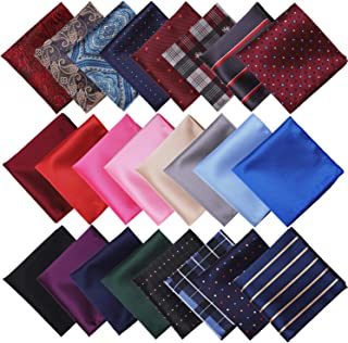 Aneco 24 Pack Mens Pocket Squares Handkerchief Hankies, Assorted Colors and Styles