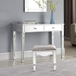 Mirrored 2-Drawer Media Console Table, GA Home Makeup Table Desk Vanity for Women Home Office Writing Desk Smooth Matte Silver Finish with Faux Crystal Knobs