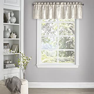 """ECLIPSE Kitchen Valances for Windows - Mallory 52"""" x 18"""" Short Curtain Valance Small Window Blackout Curtains Bathroom, Living Room and Kitchens, Ivory"""