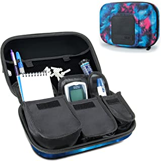USA Gear Travel Medicine Organizer for Diabetic Supplies - Omnipod, Glucose Monitoring System, Syringes, Insulin Vials and Lancets - Compatible with ACCU-CHEK, Bayer Contour, TRUEtest - Galaxy