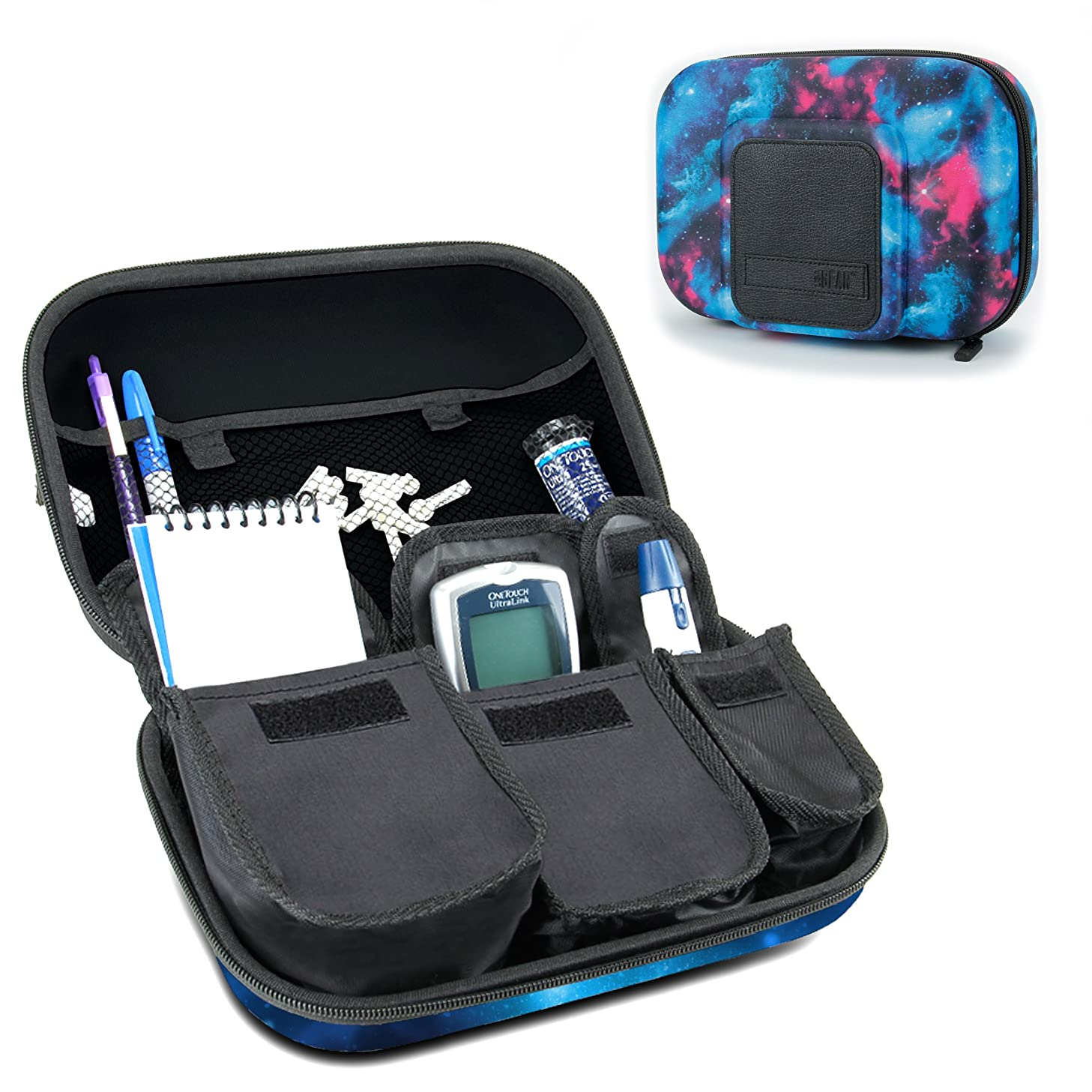 USA Gear Diabetic Supplies Travel Case Organizer for Blood Glucose Monitoring Systems, Syringes, Pens, Insulin Vials and Lancets - Compatible with ACCU-CHEK Nano, Bayer Contour, TRUEtest - Galaxy