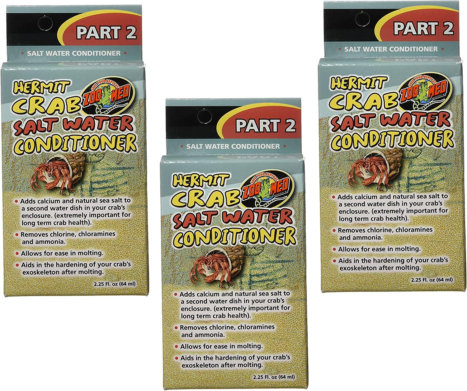 3 Pack Zoo Med Hermit Conditioner Salt Max Large-scale sale 87% OFF Crab Water 2.25-Ounce