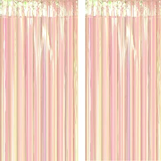 Iridescent Party Tinsel Foil Fringe Curtains Decorations - Under The Sea Frozen 1st Birthday Party Baby Shower New Years Eve Carnival Photo Backdrops Props Decorations,2pc