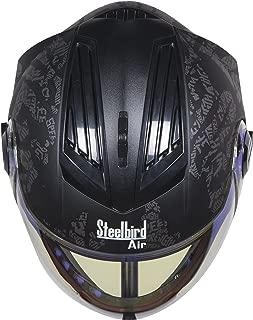 Steelbird Air SBA-2 Strength Night Vision Full Face Graphics Helmet - Single Night Vision Dual Action Visor for Day and Night (Medium 580, Matt Black/Grey)