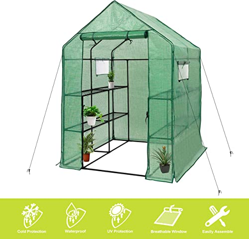"Deluxe Green House 56"" W x 56"" D x 77"" H,Walk in Outdoor Plant Gardening Greenhouse 2 Tiers 8 Shelves - Window and An..."