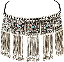 Zephyrr Necklace Boho Tribal Style Oxidized Silver Pendant Trendy Tassel Choker for Girls and Women