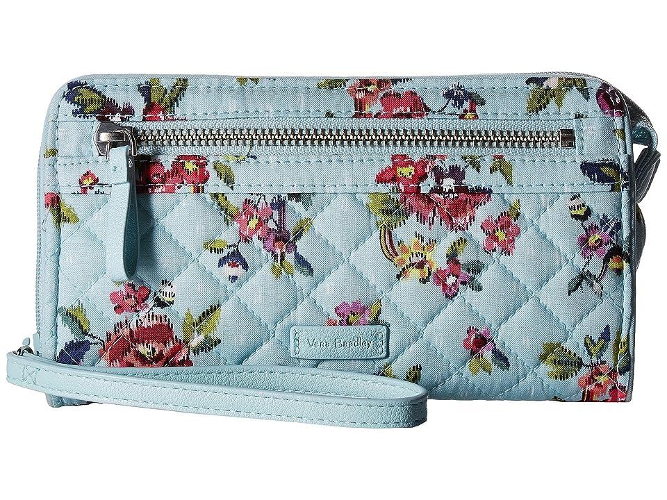 Vera Bradley Iconic RFID Front Zip Wristlet (Water Bouquet) Wristlet Handbags