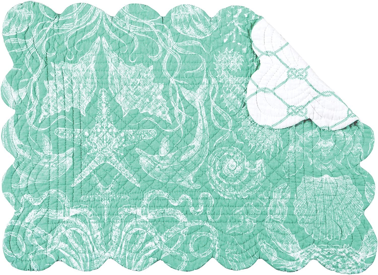 CF 100% quality warranty! Home 4 years warranty Turquoise Bay Rectangle Placemat Cotton of Quilte Set 6
