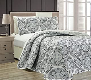 Fancy Collection 3 pc Bedspread Bed Cover Modern Reversible White Grey Black New #Linda Grey Full/Queen Over Size 106