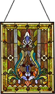 River of Goods Fleur De Lis 24.5 Inch High Stained Glass Window Panel, Brown, Yellow, Green, Blue