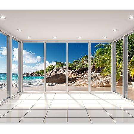788833822 Muralo Papier Peint Plage Mer Dunes 60 x 90 Vinyle Oc/éan Environnement /Écosyst/ème