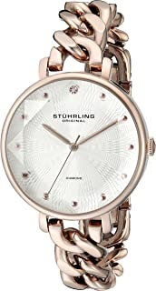 Stuhrling Original Women's Quartz Watch with Silver Dial Analogue Display and Rose Gold Stainless Steel Bracelet 596.049999999999