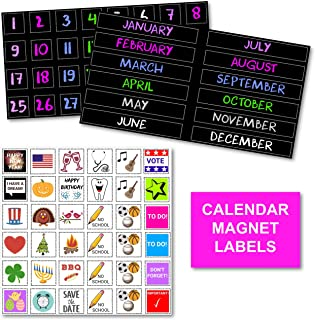 XOXO Parents Colorful Magnetic Numbers and Month Labels to Organize Any Dry Erase Magnet Fridge Calendar, Plus Fun and Reusable Holiday Icons