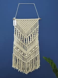 """FURNISHOP Macrame Wall Hanging Decor - Woven Tapestry - Boho Wall Decor for Dorm Apartment Room - Chic Woven Wall Hanging Art - Boho Wall Hanging Decorations for Home 15.75""""W x 33""""L"""