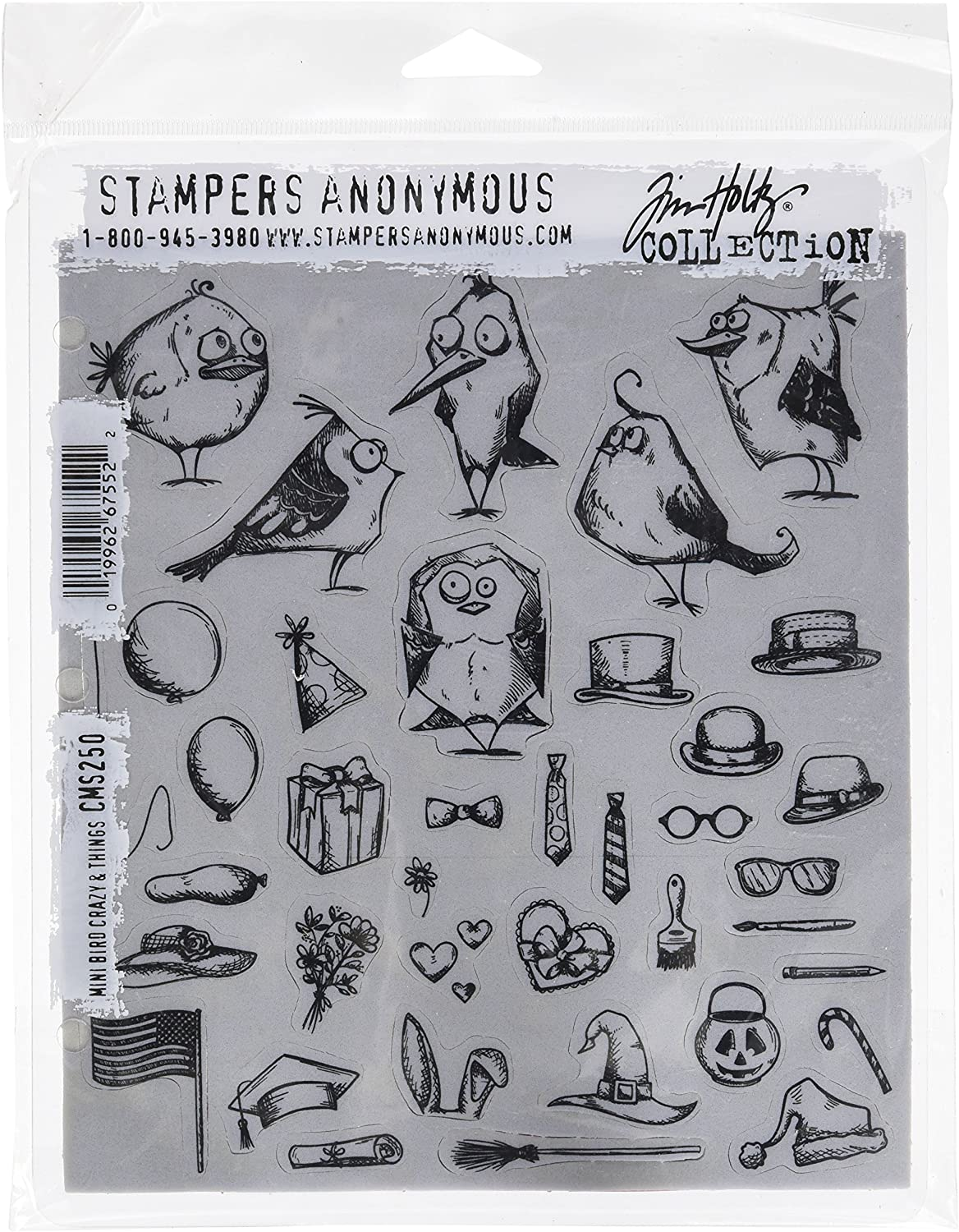 Stampers Anonymous Free shipping CMS250 Mini Bird Things Crazy Today's only Holtz Cli Tim