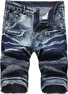 Men's Denim Shorts Jeans Elastic Casual Fit Moto Biker Zipper Deco