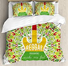 Bedding 4 Piece Rasta Duvet Cover Set Reggae Music Makes Me Feel Good Quote Jamaican Island Culture Iconic Guitar Bedding Sets 1 Flat Sheet 1 Duvet Cover and 2 Pillow Cases Green Yellow and Red, King