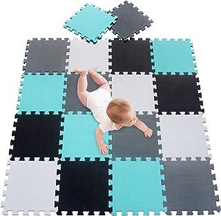 meiqicool Alfombrillas para Puzzles | Alfombra Puzzle para Niños Bebe Infantil Suelo de Goma EVA Suave 142 x 114 cm 18 Piezas Blanco-Negro-Turquesa-Gris