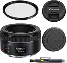 Canon EF 50mm f/1.8 STM: Lens with Glass UV Filter, Front and Rear Lens Caps, and Deluxe Cleaning Pen, Lens Accessory Bund...