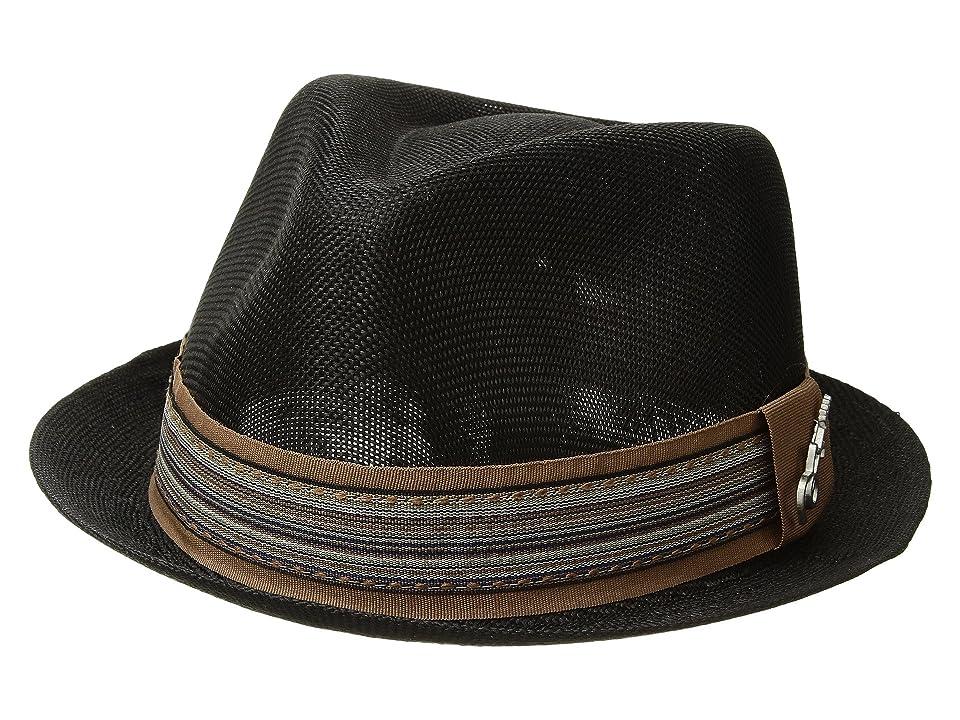 CARLOS by Carlos Santana Polyester Sinamay Pinch Front Fedora (Black) Fedora Hats