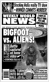 "Weekly World News Bigfoot VS Aliens 13""x22"" Vintage Style Showprint Poster - Concert Bill - Home Nostalgia Decor Wall Art Print"